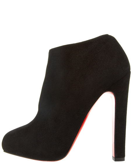 45357b63d9c6 Christian Louboutin Suede Thick-Heel Bootie