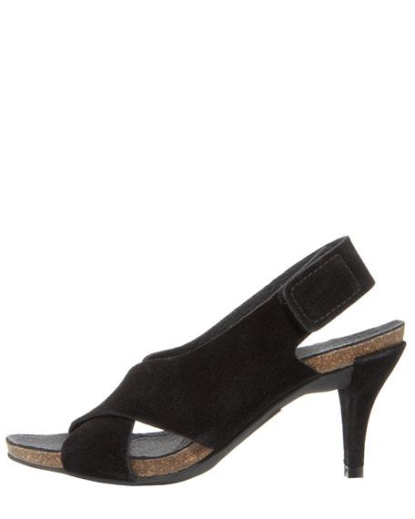 Low-Heel Crisscross Suede Sandal