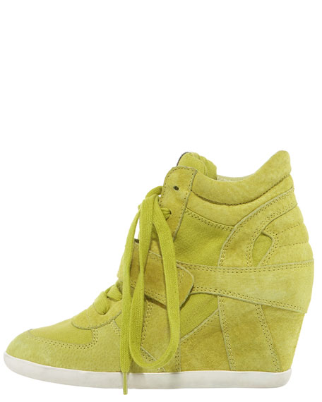 Suede & Canvas Wedge Sneaker