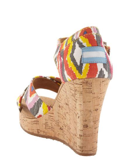 Printed Cork Wedge Sandal