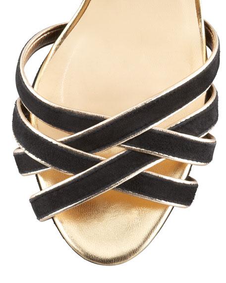 ginger metallic-trim suede sandal