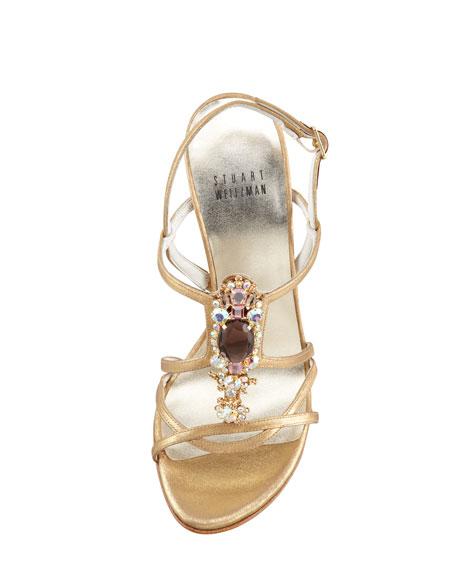 Tsar Satin Jewel-Front Sandal, Gold