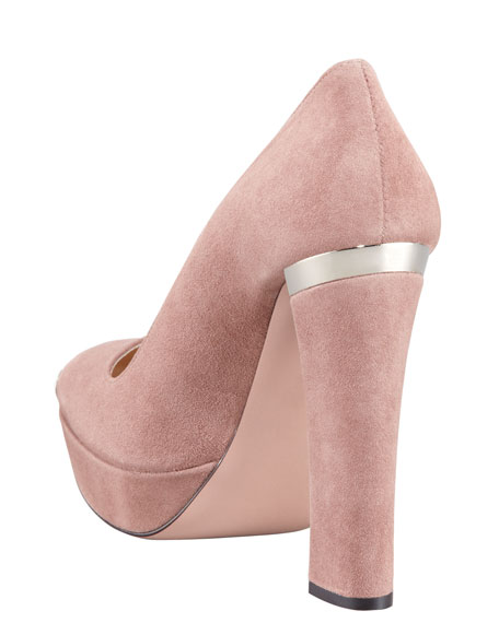 Suede Square-Toe Spoiler Pump