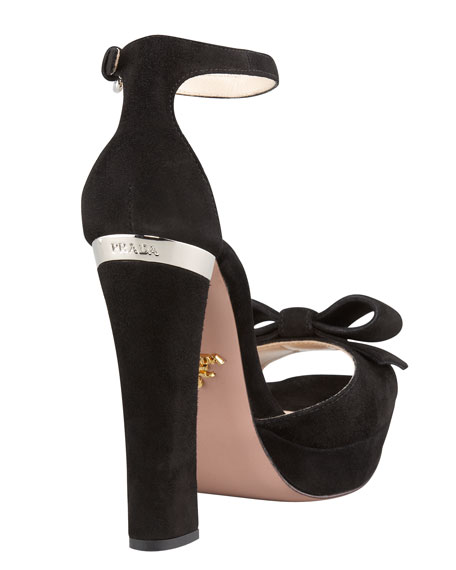 Suede Bow-Toe Ankle-Strap Pump