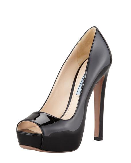 Patent Leather Square Peep-Toe Pump