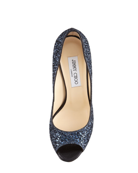 Crown Glittered Fabric Pump, Navy