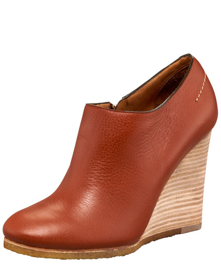 Wooden Wedge Bootie