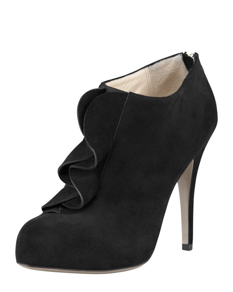 Ruffle Suede Ankle Bootie