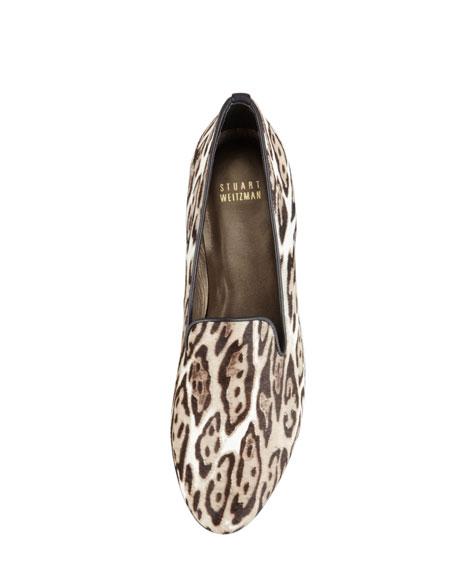 Slipon Leopard-Print Calf Hair Smoking Slipper