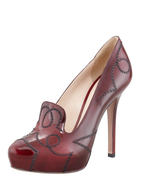 Topstitched High-Heel Loafer