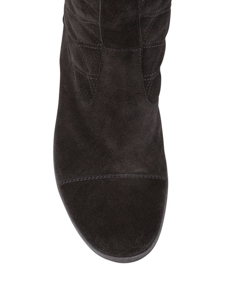 Kicks Quilted Suede Tall Boot, Black