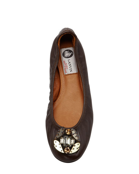 Jeweled-Toe Scrunched Leather Ballerina Flat