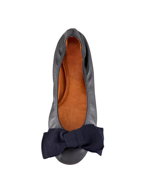 Grosgrain-Bow Leather Ballerina Flat