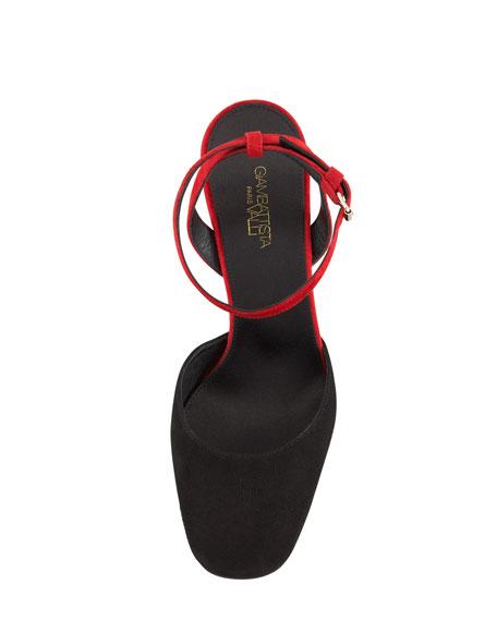 Cone Heel Ankle-Strap Sandal