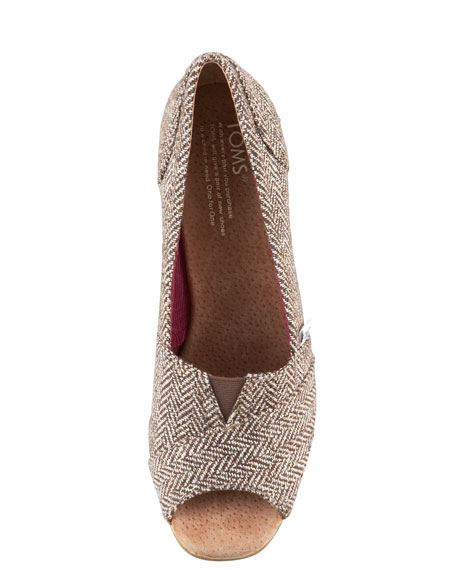 Metallic Herringbone Wedge
