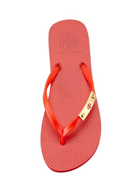 Elisha Logo-Plaque Flip-Flop, Flame Red