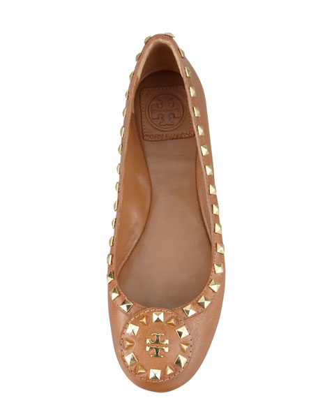 Dale Studded Ballerina Flat, Royal Tan