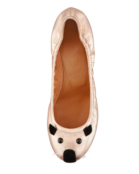Soft Mouse Ballerina Flat, Rose Gold