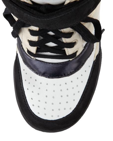 Internal Wedge Sneaker, Black/Oat