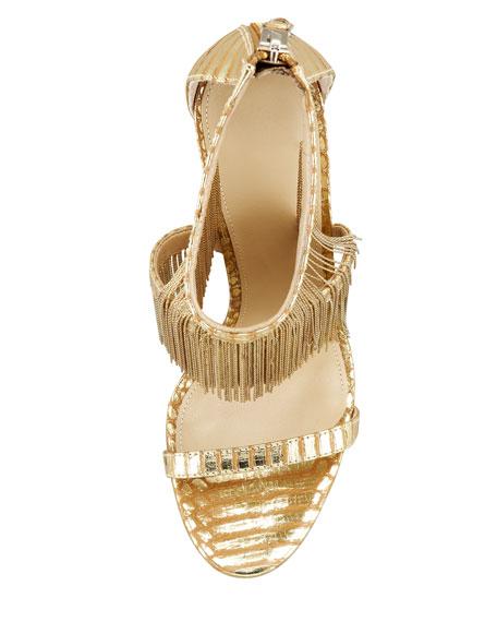 Metal Fringe Back-Zip Sandal, Gold
