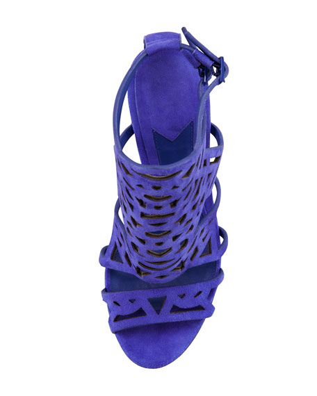 Cutout Suede Sandal, Purple