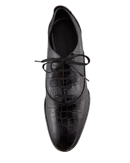 Ingrid Crocodile-Embossed Oxford, Black