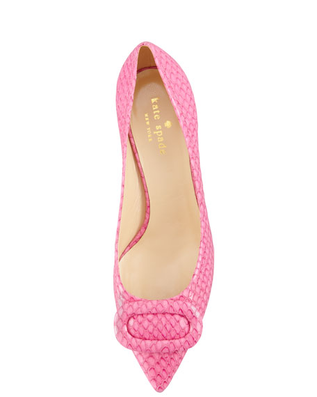 simon snake-print kitten-heel pump, pink