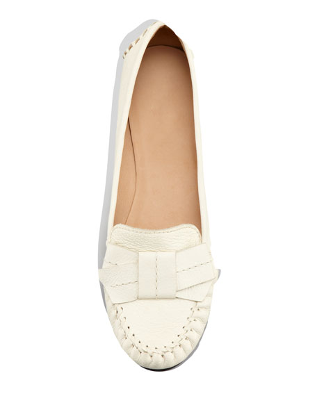 willie tumbled leather loafer, cream