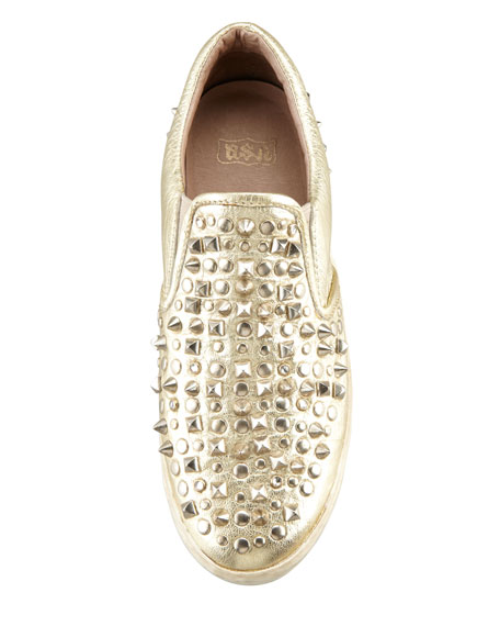 Distressed Studded Slip-On Sneaker