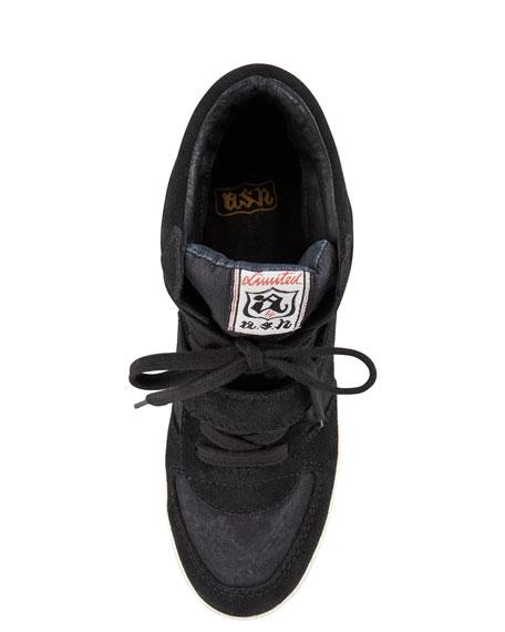 Bowie Suede Wedge Sneaker, Black