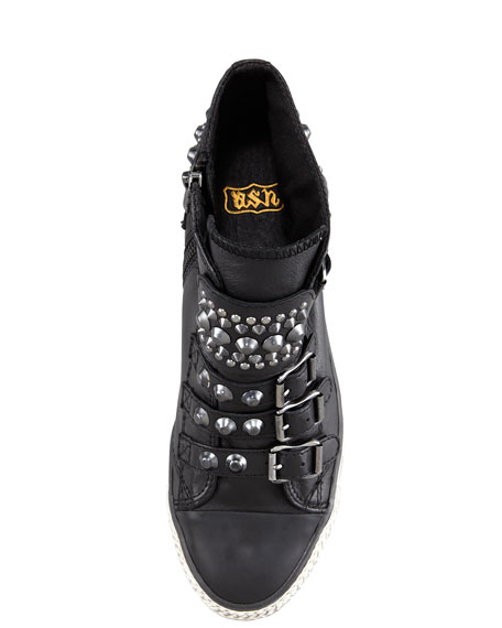 Studded Buckled Sneaker Wedge, Black