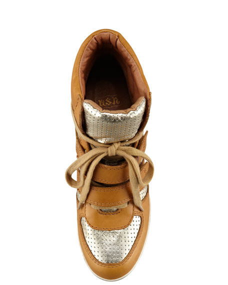 Leather Metallic Wedge Sneaker