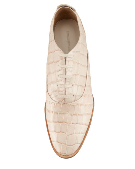 Ingrid Crocodile-Embossed Oxford, Almond