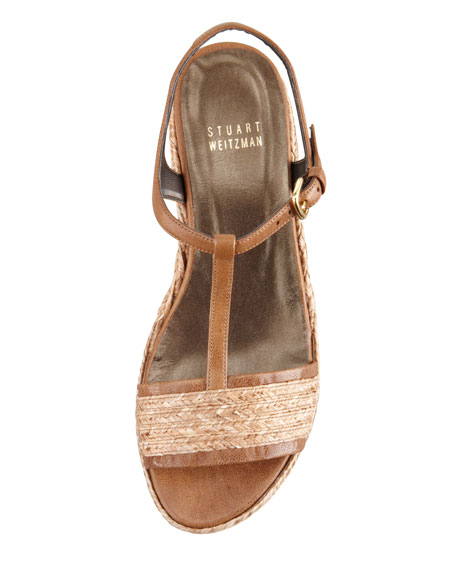 Flatty Raffia Braided Wedge Sandal, Fawn