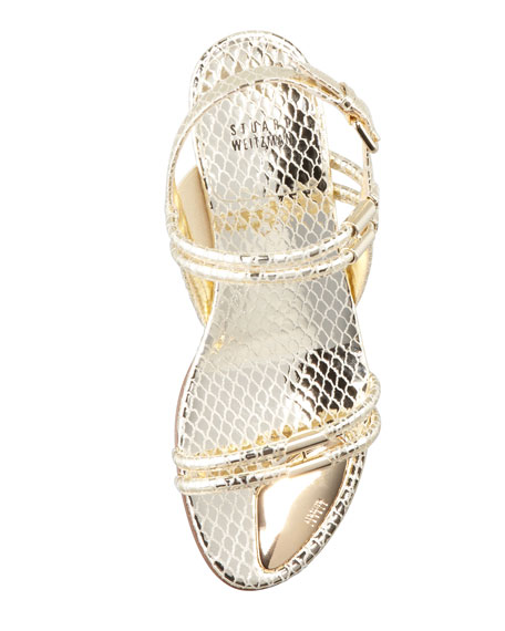 Rolldown Metallic Micro-Wedge Sandal, Pale Gold