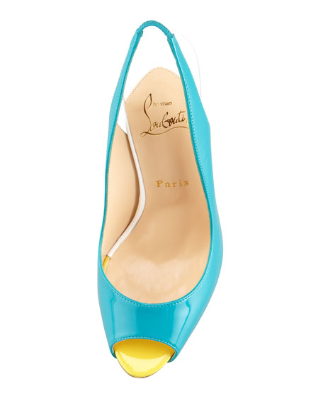 Flo Colorblock Patent Red Sole Slingback, Caraibes/Canari