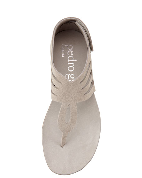 Jules Suede Cutout Thong Sandal, Tan