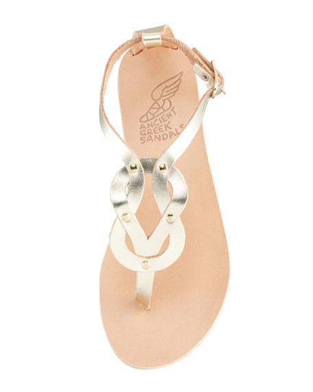 Hercules Knotted Thong Sandal, Platinum