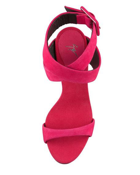 Suede Crisscross Sandal, Fuchsia