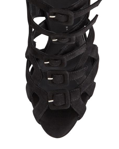 Suede Multi-Buckled Sandal, Black