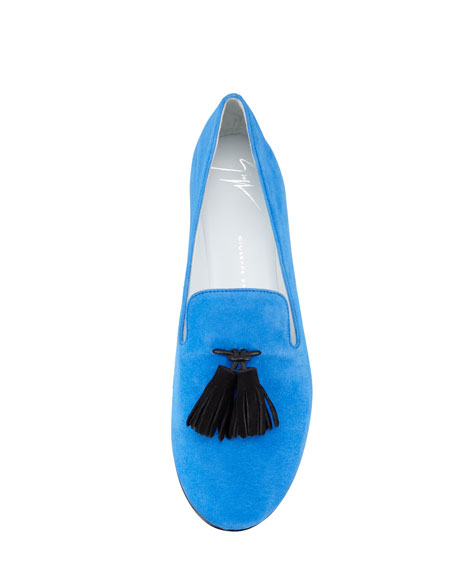 Tasseled Suede Smoking Loafer, Blue