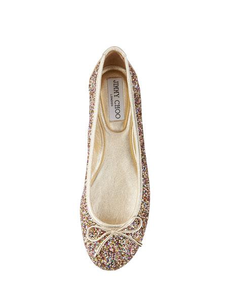 53e0eec9b52 Jimmy Choo Walsh Glitter Ballerina Flat
