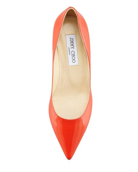 Aza Low-Heel Patent Pump, Tangerine