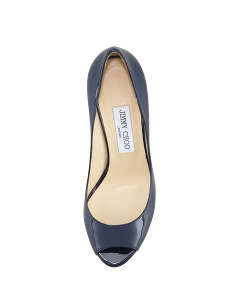 Baxen Peep-Toe Patent Wedge, Navy