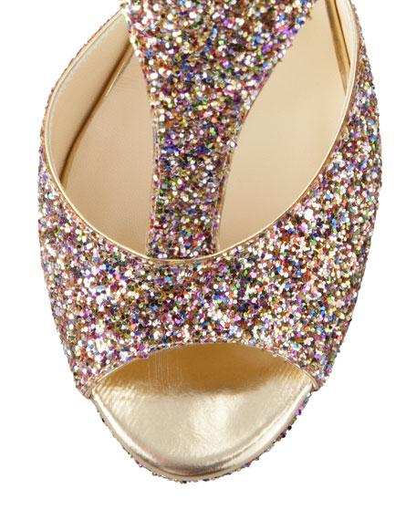 Tribe Glitter T-Strap Sandal, Golden Multi