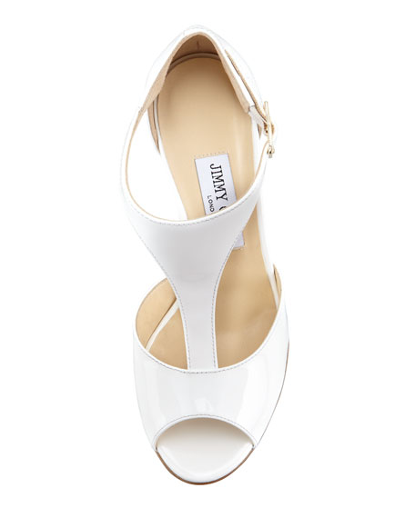 Token Patent T-Strap Wedge Sandal, White