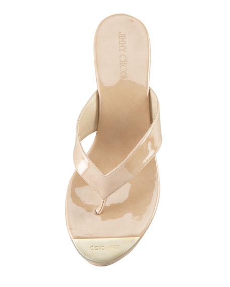 Pathos Patent Leather Cork Sandal, Nude
