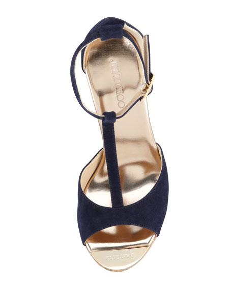 Pela Suede Cork Wedge Sandal
