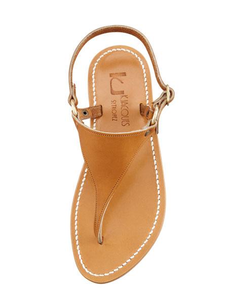 Triton Slingback Flat Thong Sandal, Natural