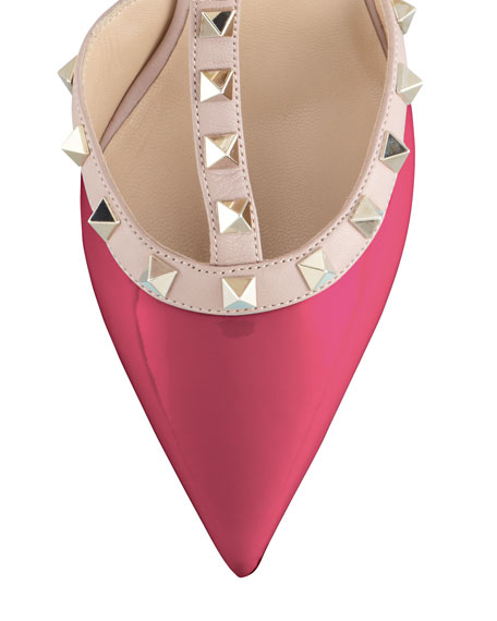 Rockstud Two-Tone Pointed Toe Pump, Fuchsia